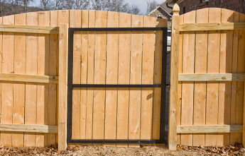 Steel Frame Standard Gate Wood Fence Modern Fence Company Fort Smith Fence Eastern Oklahoma Fencing